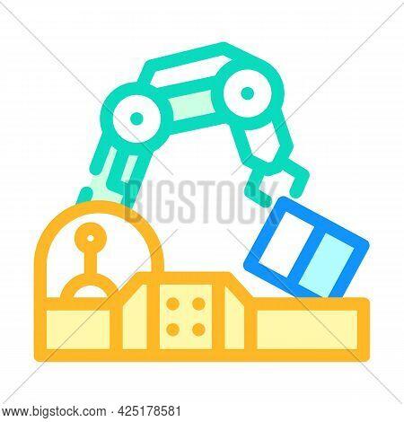 Robotic Arm Conveyor Production Color Icon Vector. Robotic Arm Conveyor Production Sign. Isolated Sy