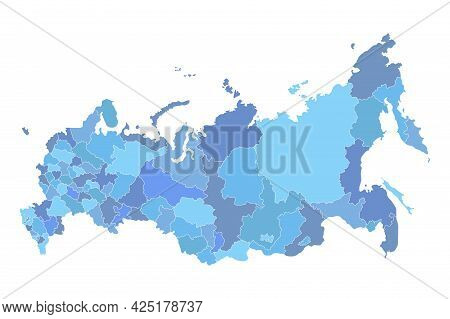 Detailed Russia Administrative Blue Map With Borders Of Regions Icon Isolated On White Background. R