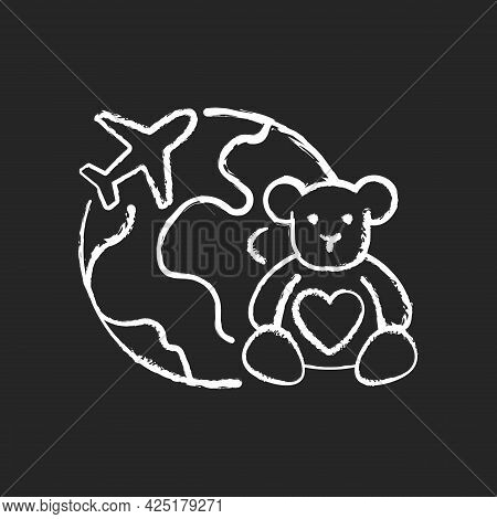 Orphanage Tourism Chalk White Icon On Dark Background. Volunteer Fly Abroad For Children Charity Sup