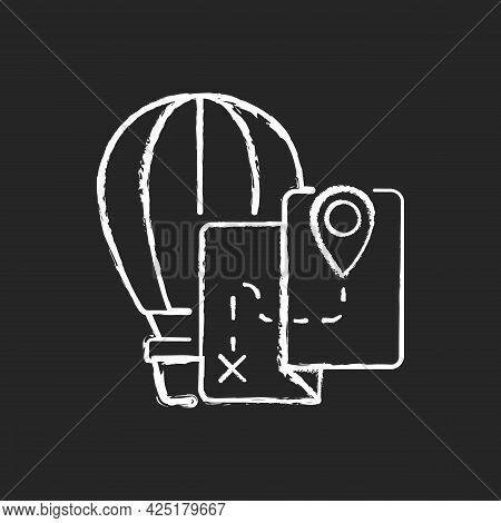 Hot Air Balloon Tourism Chalk White Icon On Dark Background. Flight Journey. Fly High In Basket. Tou