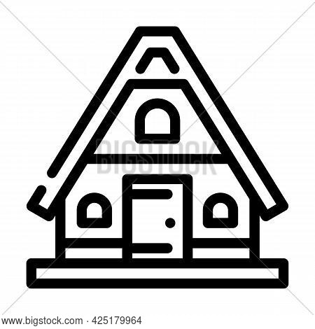 Mountain House Line Icon Vector. Mountain House Sign. Isolated Contour Symbol Black Illustration