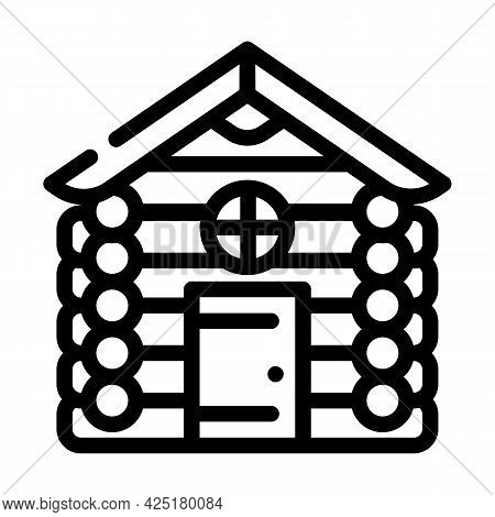 Wooden Hut House Line Icon Vector. Wooden Hut House Sign. Isolated Contour Symbol Black Illustration
