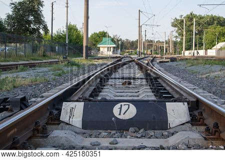 Abstract View Of Railway Arrows. A Turnout Switch For Rails In Railway Traffic. Rails, Sleepers And