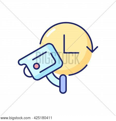24 7 Protection With Security Video System Rgb Color Icon. Isolated Vector Illustration. 24 Hour Mon