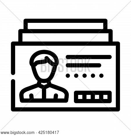 Client Card Kyc Line Icon Vector. Client Card Kyc Sign. Isolated Contour Symbol Black Illustration