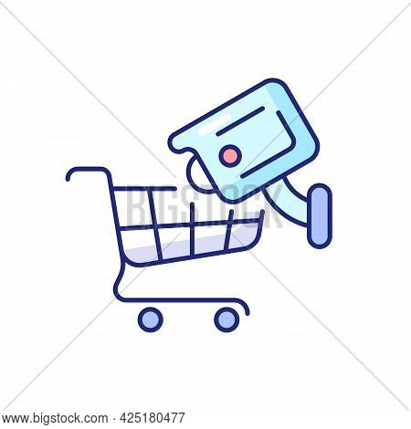 Tracking Customers With Surveillance Camera Rgb Color Icon. Isolated Vector Illustration. Shopliftin