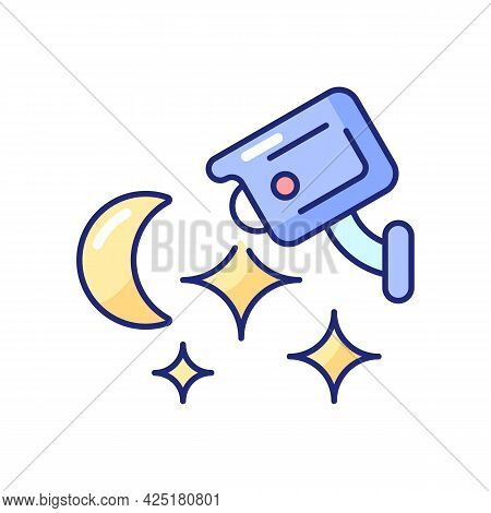 Home Security System With Night Vision Rgb Color Icon. Isolated Vector Illustration. Monitoring Duri