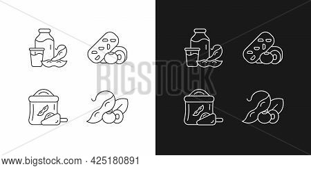Soy Meals Linear Icons Set For Dark And Light Mode. Organic Soybean Based Flour. Vegetable Snacks. C