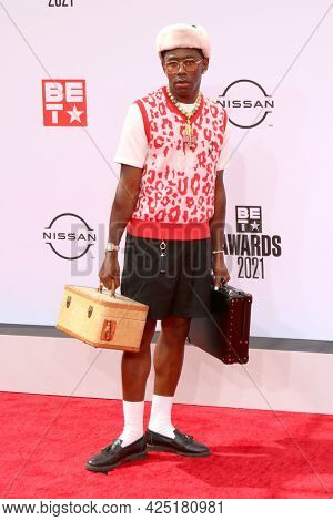 LOS ANGELES - JUN 27:  Tyler, the Creator at the BET Awards 2021 Arrivals at the Microsoft Theater on June 27, 2021 in Los Angeles, CA