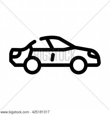 Car Parking Line Icon Vector. Car Parking Sign. Isolated Contour Symbol Black Illustration