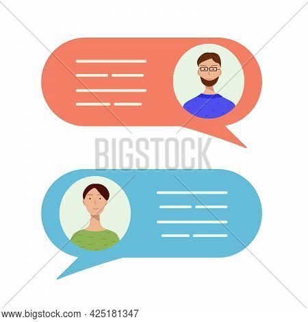 Avatars Two Men In Speech Bubbles. Concept Of Chat, Message, Web Communicate, Messenger. Vector Illu
