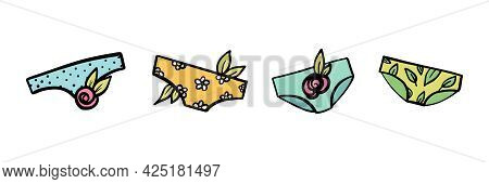 Colorful And Cute Doodle Panties, Women's Underwear With Flowers And Leaves Set, Collection.