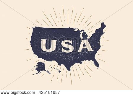 Usa. Poster Map Of United States Of America. Black And White Print Map Of Usa For T-shirt, Poster Or