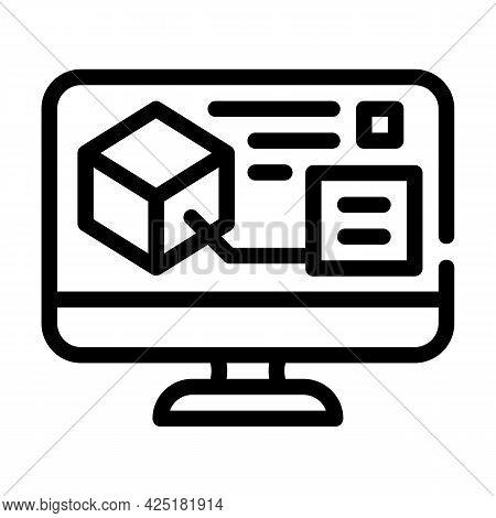 Digital Model On Computer Screen Line Icon Vector. Digital Model On Computer Screen Sign. Isolated C