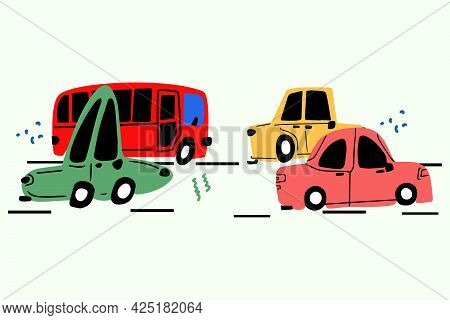 Cute Cars Are Driving Along The Road, Cars Are Hand-drawn In The Doodle Style. Vector Children's Ill