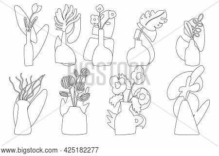 A Large Set Of Vases With Flowers Drawn By Hand With A Contour, Linear Vases And Flowers