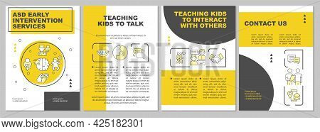 Asd Early Intervention Services Brochure Template. Medical Help. Flyer, Booklet, Leaflet Print, Cove