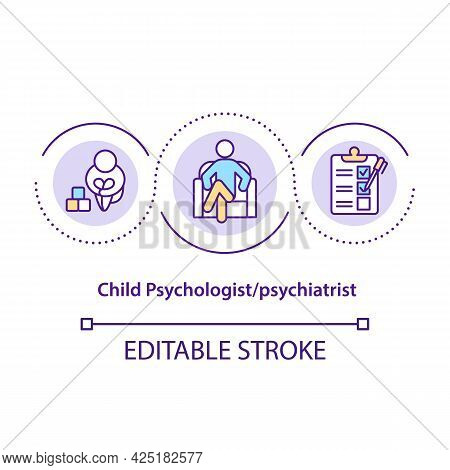 Child Psychologist Concept Icon. Psychiatrist Medical Help. Medical Treatment Of Body Disorders Abst