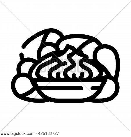 Crisps Wasabi Line Icon Vector. Crisps Wasabi Sign. Isolated Contour Symbol Black Illustration