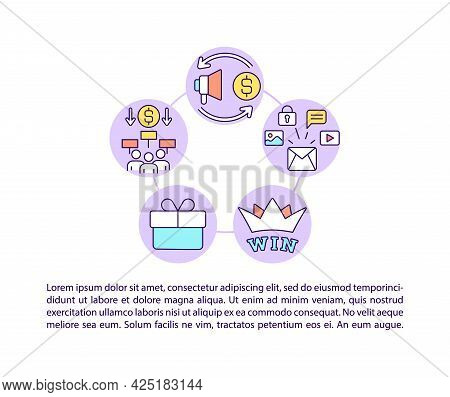 Viral Marketing Tools Concept Line Icons With Text. Ppt Page Vector Template With Copy Space. Brochu