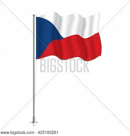 Czech Republic Flag Waving On Metallic Pole.