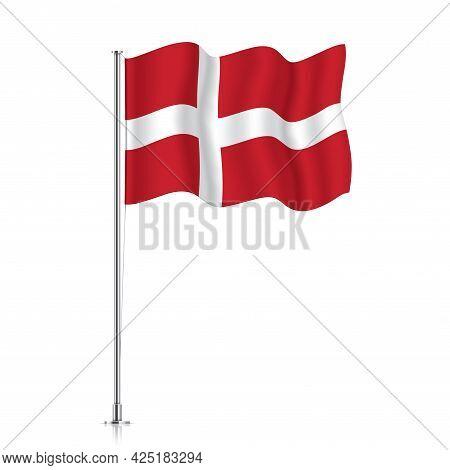 Denmark Flag Waving On A Metallic Pole.