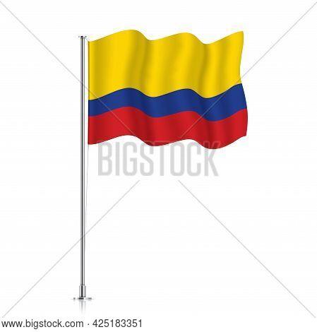 Columbia Flag Waving On A Metallic Pole.