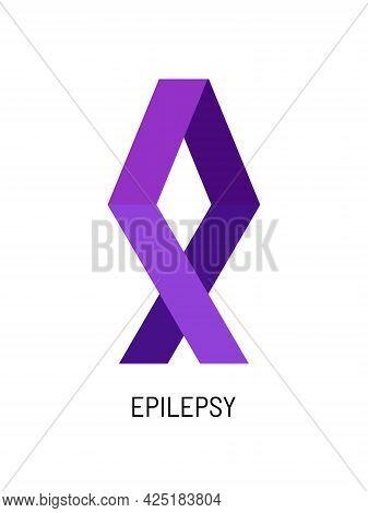 Purple Ribbon, Symbol Of International Epilepsy Day. March 26th. Vector Illustration Of Internationa