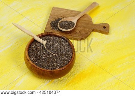 Chia Seeds Space For Copying Text, Copy Space. Yellow Background