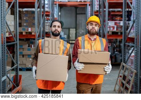 Two bearded workers of warehouse holding boxes while moving along aisle