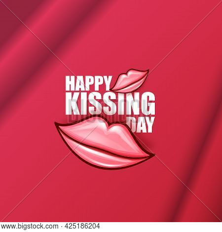 Happy Kissing Day Greeting Card Or Banner With Cartoon Glossy Red Lips Isolated On Pink Background.