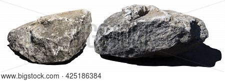 Two Stones With Hard Shadows Isolated On White Background. Big Granite Rock Stone. Rock Stone Is An