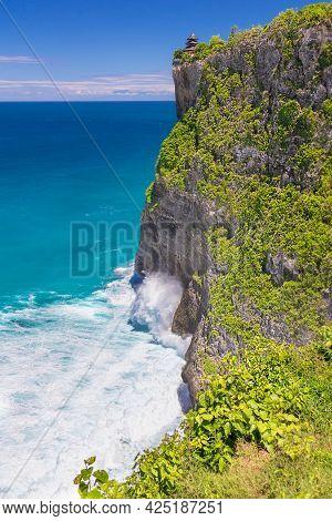 Huge Sea Waves Crash Against The Rocky Coast. Bali, Uluwatu. Seascape.