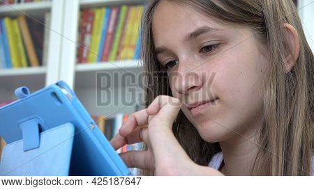 Child Playing Tablet Browsing Internet, Kid Learning On Touchscreen Device, Teenager Girl Studying F