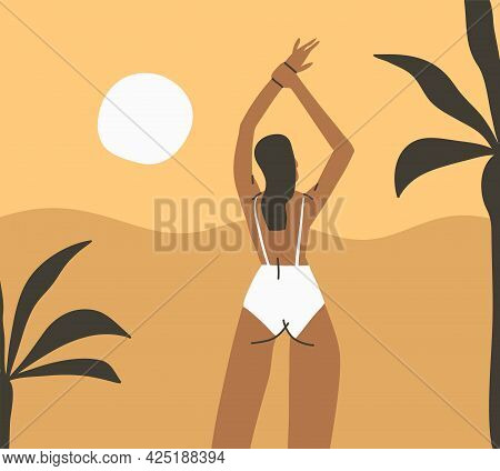 Hand Drawn Vector Abstract Stock Graphic Summer Time Cartoon, Minimalistic Style Illustrations Print