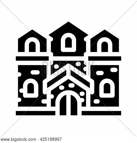 Medieval House Glyph Icon Vector. Medieval House Sign. Isolated Contour Symbol Black Illustration