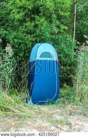 Blue High Tent Without Bottom, Camp Toilet Or Changing Room, Camping Shower. Camping Travel Hiking C