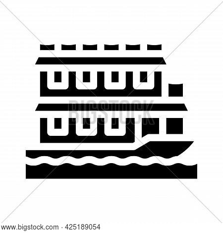 Floating Boat House Glyph Icon Vector. Floating Boat House Sign. Isolated Contour Symbol Black Illus