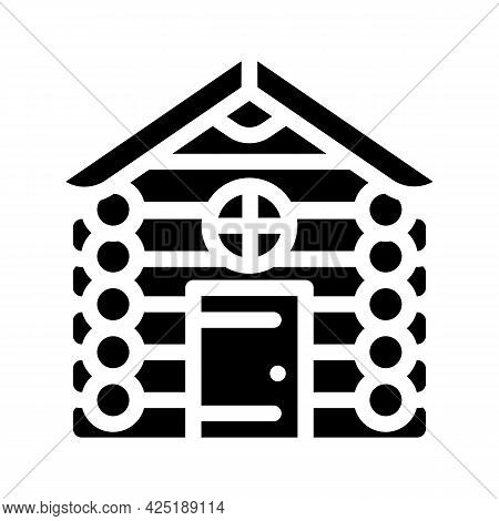 Wooden Hut House Glyph Icon Vector. Wooden Hut House Sign. Isolated Contour Symbol Black Illustratio