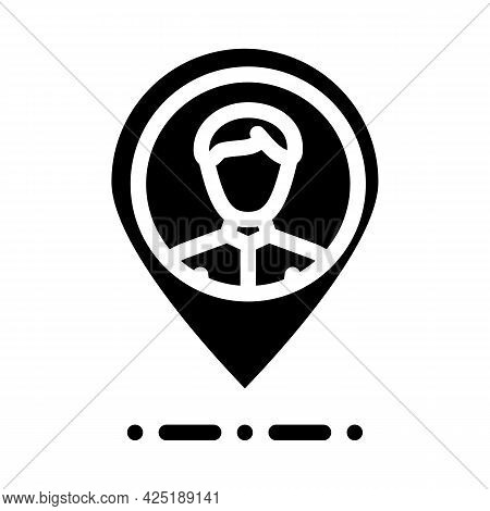 Client Geo Tag Kyc Glyph Icon Vector. Client Geo Tag Kyc Sign. Isolated Contour Symbol Black Illustr