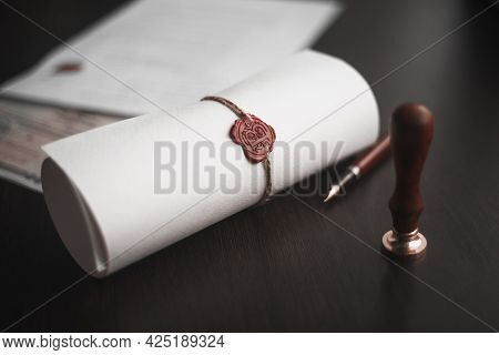Notarys Public Pen And Stamp On Testament And Last Will. Notary Public Tools