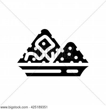 Salt Heap In Plate Glyph Icon Vector. Salt Heap In Plate Sign. Isolated Contour Symbol Black Illustr
