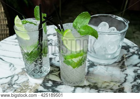 Coktail Gin Tonic Or Mojito In Glass With Mint, Ice, Lime On The Tropical Leaves Background.