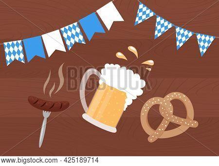 Oktoberfest Food On Wooden Background. Beer Mug, Pretzel And Bavarian Sausage. Oktoberfest Poster Wi
