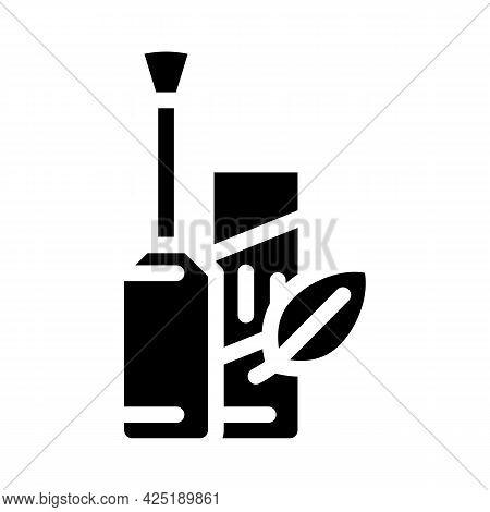 Mascara Organic Cosmetics Glyph Icon Vector. Mascara Organic Cosmetics Sign. Isolated Contour Symbol
