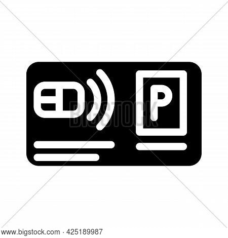 Pass Card Parking Glyph Icon Vector. Pass Card Parking Sign. Isolated Contour Symbol Black Illustrat