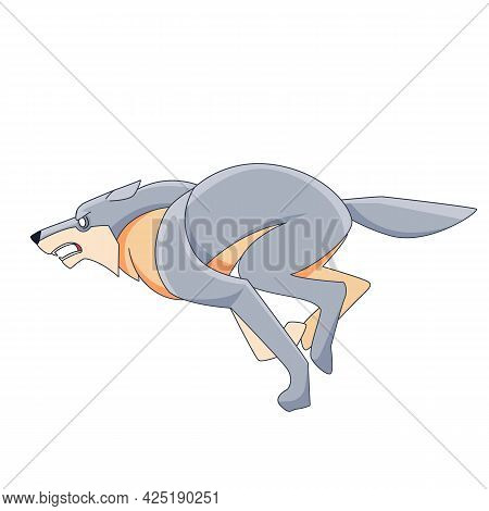 White Wolf Is Running Very Fast. Cartoon Character Of A Dangerous Mammal Animal. A Wild Forest Creat