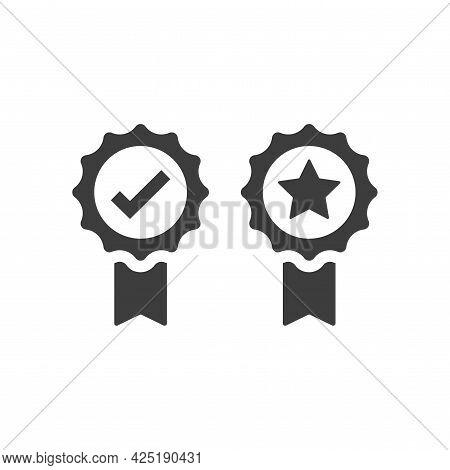 Award Badge With Checkmark And Star Vector Icon. Quality Ribbon Medal Black Symbol.