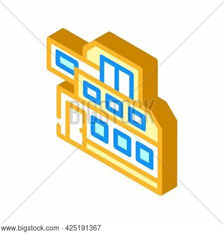 Modern House Building Isometric Icon Vector. Modern House Building Sign. Isolated Symbol Illustratio