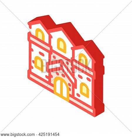 Medieval House Isometric Icon Vector. Medieval House Sign. Isolated Symbol Illustration